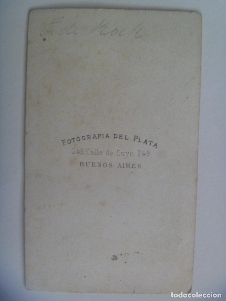 Fotografía antigua: CDV DE SEÑOR DEL SIGLO XIX . DE FOTOGRAFIA DEL PLATA , BUENOS AIRES ( ARGENTINA ) - Foto 2 - 159677874