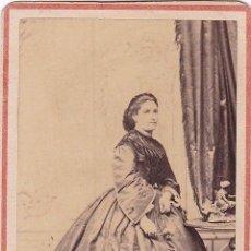 Fotografía antigua: 1864 FECHADA FOTOGRAFÍA CARTA DE VISITA CDV RETRATO DAMA FOTÓGRAFO E. GARREAUD. LIMA, PERÚ. Lote 159702922