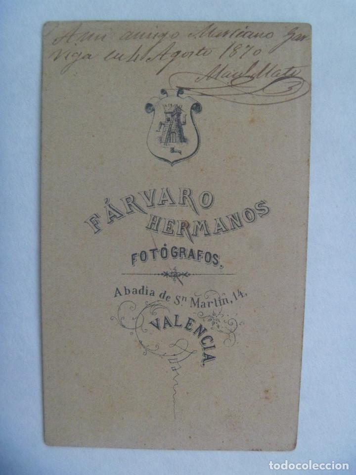 Fotografía antigua: CDV DE UN MILITAR DE INFANTERIA, 1870 , SIGLO XIX. DE FARVARO HERMANOS , VALENCIA - Foto 2 - 159843642