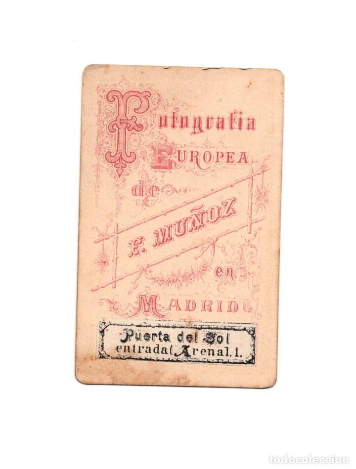 Fotografía antigua: CARTES DE VISITE. ESTUDIO FOTOGRÁFICO. F.MUÑOZ. MADRID. - Foto 2 - 165723570