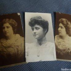 Fotografía antigua: 3 FOTOS SEÑORAS TRAJE MODA FEMENINA GANCHILLO PEINADOS TAMAÑO CDV C.1900. Lote 168453040