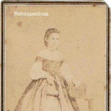 Fotografía antigua: EXCEPCIONAL PIEZA. RETRATO SEÑORITA . CA.1860-1865. FOT: J.M. TERREFORTE. MAYAGUEZ. PUERTO RICO.. Lote 168886816