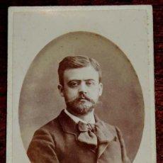 Fotografía antigua: FOTOGRAFIA CARTE DE VISITE CDV DE CABALLERO, FOTOGRAFO M. ALVIACH DE MADRID, MIDE 10 X 6,2 CMS.. Lote 169388908