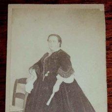 Fotografía antigua: FOTOGRAFIA ALBUMINA CDV DE DAMA, CARTE DE VISITE, NO CONSTA FOTOGRAFO, MIDE10,5 X 6,3 CMS.. Lote 169394236