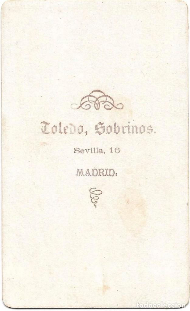 Fotografía antigua: 1878 CA FOTOGRAFÍA ALBUMINA CDV CARTE DE VISITE TOLEDO SOBRINOS MADRID - Foto 2 - 172253347
