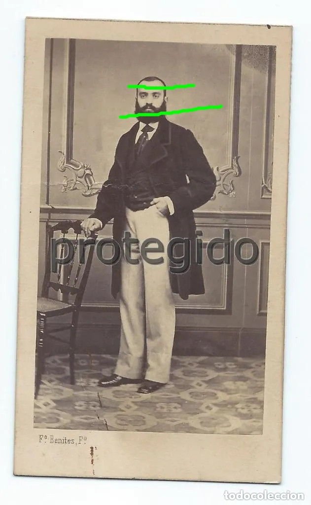 RETRATO. CABALLERO. SIGLO XIX. FRANCISCO BENITES FOTÓGRAFO. ÁNGELES, 12. ALICANTE. (Fotografía Antigua - Cartes de Visite)