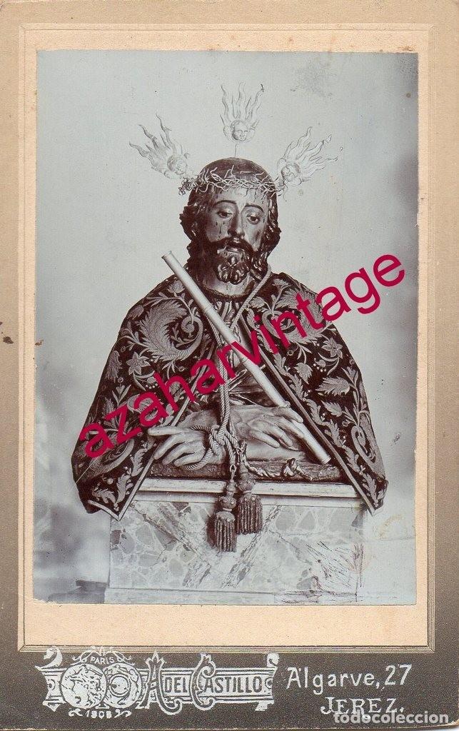 SEMANA SANTA JEREZ DE LA FRONTERA, SIGLO XIX, CRISTO DE LA PUERTA REAL,FOT.CASTILLO,70X108MM (Fotografía Antigua - Cartes de Visite)