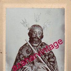 Fotografía antigua: SEMANA SANTA JEREZ DE LA FRONTERA, SIGLO XIX, CRISTO DE LA PUERTA REAL,FOT.CASTILLO,70X108MM. Lote 174066708