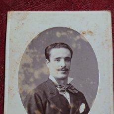 Fotografía antigua: FOTOGRAFIA HOMBRE JOVEN FOTOGRAFO E. OTERO CARRERA GERONIMO MADRID FINALES SIGLO XIX . Lote 174487255