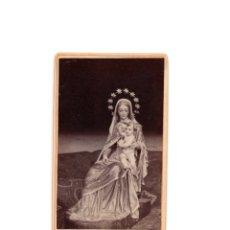 Fotografía antigua: CARTES DE VISITE. ESTUDIO FOTOGRÁFICO. PEREZ SIERRA. LLANES.(ASTURIAS). VIRGEN CON NIÑO.. Lote 175299297