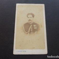 Fotografía antigua: CARTE DE VISITE RETRATO DE MILITAR CONDECORADO J. LAURENT FOTOGRAFO MADRID HACIA 1865. Lote 175535567