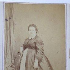 Fotografía antigua: F-4180. CARTE DE VISITE DE UNA DAMA BARCELONESA. FOTOGRAFO JUAN MARTÍ. BARCELONA. CIRCA 1870. Lote 175899273