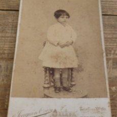 Fotografía antigua: CDV, ALBUMINA,JOAQUIN OSES, MALAGA, NIÑA, SIGLO XIX, 105X165MM. Lote 175974058