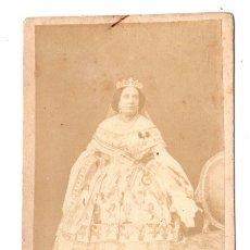 Fotografía antigua: CARTA DE VISITA ALBUMINA REINA ISABEL II. FOTO J. LAURENT, MADRID. Lote 177582673