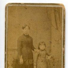 Fotografía antigua: RETRATO DE DAMA CON SU HIJA, FOTOGRAFÍA ARTÍSTICA DE ANICETO, SAN FRANCISCO 23, SANTANDER. Lote 177763480
