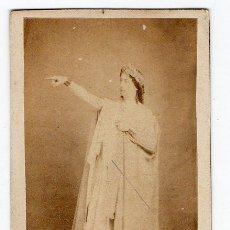 Fotografía antigua: J. LAURENT. ANNE CAROLINNE DE LAGRANGE EN SU PAPEL PARA NORMA. 1860 – 61 DEDICADA EN EL DORSO.. Lote 179068602