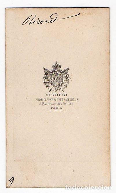 Fotografía antigua: DISDERI. PARIS. RICORD. SIGLO XIX - Foto 2 - 179069175