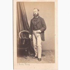 Fotografía antigua: RETRATO DE PERSONAJE POR IDENTIFICAR, FOTO LEOPOLDO ROVIRA, BARCELONA. CDV. Lote 179243328