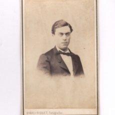 Fotografía antigua: RETRATO DE PERSONAJE POR IDENTIFICAR, FOTO J. VIÑAS. BARCELONA. CDV. Lote 179313245