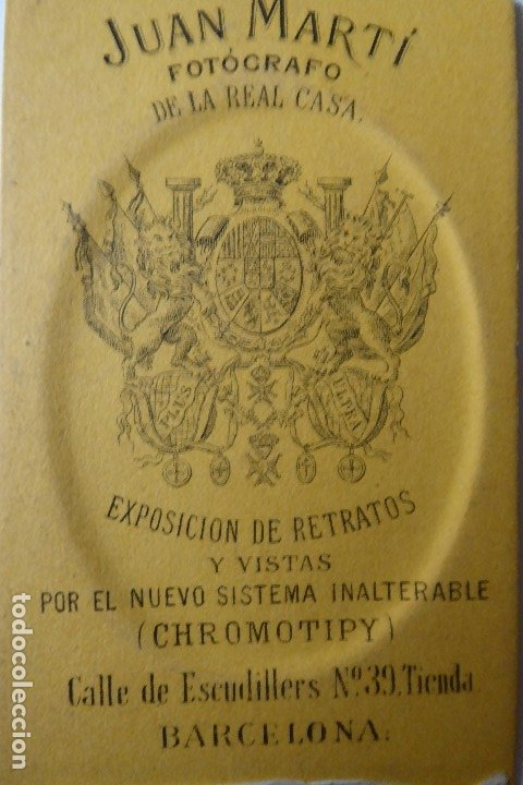 Fotografía antigua: F-4432. CARTE VISITE PERSONAJE BARCELONÉS. JUAN MARTÍ FOTOGRAFO. CIRCA 1870. - Foto 3 - 180903488