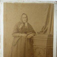 Fotografía antigua: F-4473. FOTOGRAFIA DE UNA ANCIANA. TARRAGONA. FOTOGRAFIA P. PALLEJÁ. CIRCA 1870.. Lote 182044583