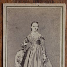 Fotografía antigua: CDV- DAMA - FOTOGRAFIA DE D. CORBIN, TALLER DE ROVIRA Y DURÁN. BARCELONA. 1860-1870. Lote 182281578