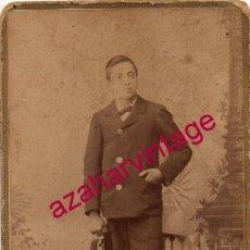 Fotografía antigua: SALAMANCA, SIGLO XIX, POSIBLE FERROVIARIO, FOT.OLIVAN, 64X104MM. Lote 182298506