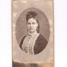 Fotografía antigua: RETRATO FEMENINO, FOTO: LINARES, CARTAGENA. CDV. Lote 182378928