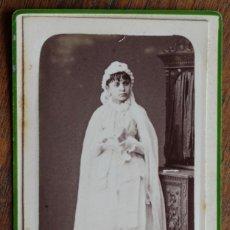 Fotografía antigua: ANTIGUA FOTO -PRIMERA COMUNION - RAFAEL AREÑAS - S XIX. Lote 182380718