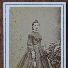 Fotografía antigua: CARTES DE VISITE.- DAMA- FOTOG. FRANCO. HISPANO. AMERICANO. BARCELONA. Lote 182385258