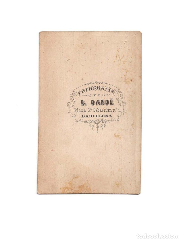 Fotografía antigua: CARTES DE VISITE. ESTUDIO FOTOGRÁFICO. B. DARDÉ. BARCELONA. - Foto 2 - 182483356