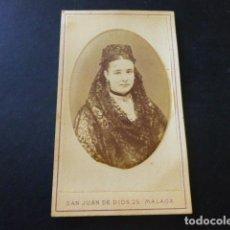 Fotografía antigua: MALAGA FRANCISCO ROJO E HIJO FOTOGRAFO RETRATO DE ELISA URBANO CARTE DE VISITE HACIA 1865. Lote 183579086
