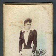 Fotografía antigua: SEÑORITA. F: J. MARTÍ. BCN. C. 1875. Lote 185958561