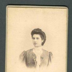 Fotografía antigua: SEÑORITA. PRECIOSO RETRATO. F: F. PERELLO. BCN. C. 1885. Lote 185958962