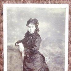 Fotografía antigua: CARTE DE VISITE - SEÑORITA POSANDO. Lote 185961891