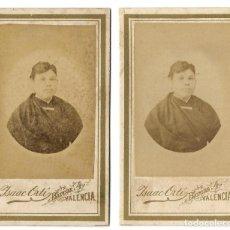 Fotografía antigua: LOTE 2 FOTOGRAFÍAS ANTIGUA RETRATOS ALBUMINA CDV 53X90MM FOTÓGRAFO ISAAC ORTI (VALENCIA) 1880'S. Lote 188573180