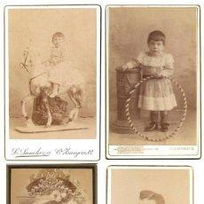 Fotografía antigua: LOTE 4 FOTOGRAFÍAS NIÑOS ALBUMINA CDV CARTE DE VISITE Y CABINET FOTÓGRAFO L SANCHEZ VALENCIA 1880'S. Lote 188575741