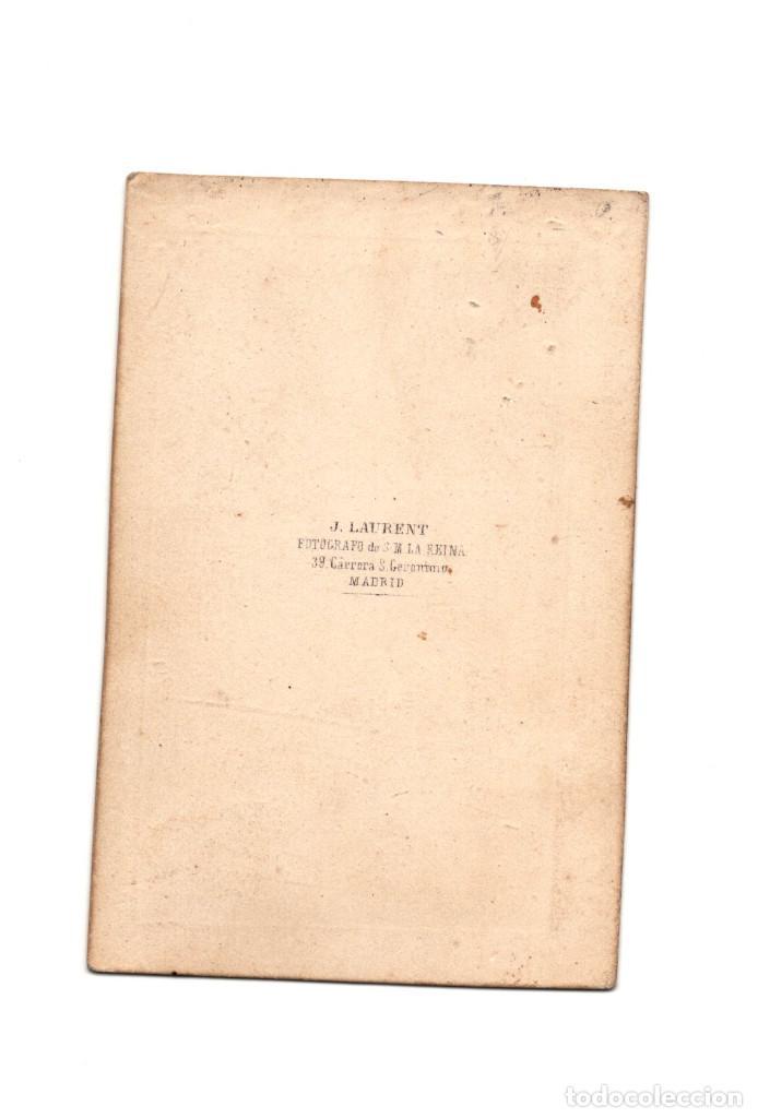 Fotografía antigua: CARTES DE VISITE. ESTUDIO FOTOGRÁFICO. J. LAURENT. MADRID. - Foto 2 - 190279773