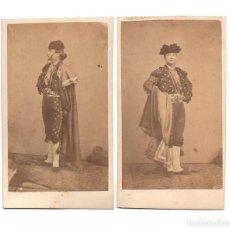Fotografía antigua: 2 CARTES DE VISITE. ESTUDIO FOTOGRÁFICO. DESCONOCIDO. TORERO.. Lote 190290482