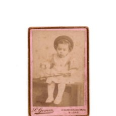 Fotografía antigua: CARTE DE VISITE. ESTUDIO FOTOGRÁFICO. L. GOMEZ. BILBAO.. Lote 190292758