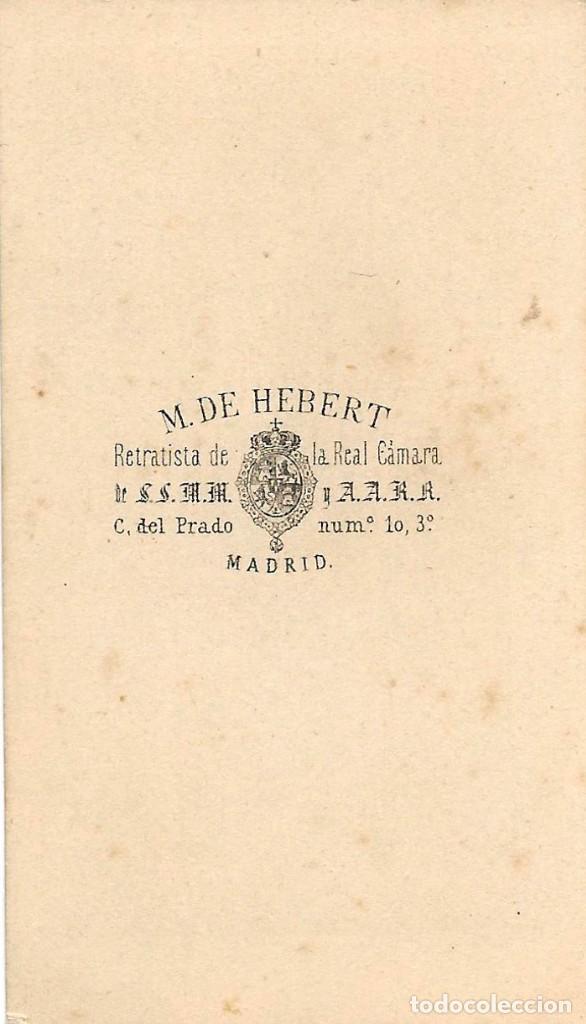 Fotografía antigua: 1864 ca Fotografía antigua retrato carte visite CDV Fotógrafo Martínez Hebert Madrid - Foto 2 - 192094803