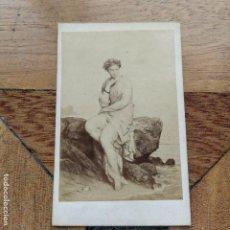 Fotografía antigua: LA REVERIE AUBERT N 842 FOTOGRAFIA SOBRE CARTÓN DE GOUPIL & CIA PARIS. Lote 193907960