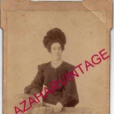 Fotografía antigua: ESPECTACULAR CDV DE UNA DAMA MADRILEÑA, FOT.L. MOUTON 128X218MM. Lote 195183976