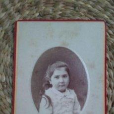 Fotografía antigua: CDV. RETRATO DE UNA NIÑA. 1878. NANCY.. Lote 195411721