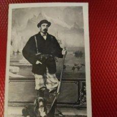 Fotografía antigua: ALBUMINA TARJETA VISITA CAZADOR, CAZA FOTOGRAFÍA CORDEIRO J. MAGISTRIS MADRID. Lote 196486080