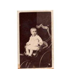Fotografía antigua: CARTE DE VISITE. ESTUDIO FOTOGRÁFICO. NAPOLEON É HIJO. MADRID. NIÑO EN SILLA DE CARRITO.. Lote 196491565