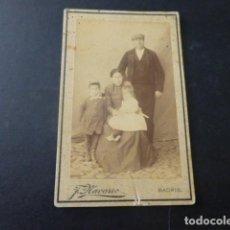 Fotografía antigua: RETRATO DE FAMILIA CARTE DE VISITE FOTOGRAFO F. NAVARRO MADRID. Lote 197055533
