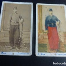 Fotografía antigua: SOLDADO HACIA 1865 2 CARTE DE VISITE J. MON FOTOGRAFO UNA ILUMINADA. Lote 197184036