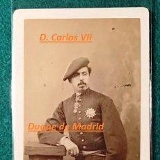 Fotografía antigua: FOTOGRAFÍA CDV DE D. CARLOS VII DE BORBÓN. CARLISTA. CA 1870. Lote 197482983