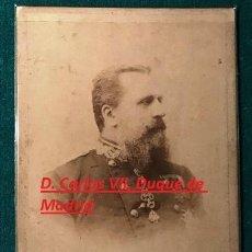 Fotografía antigua: FOTOGRAFÍA CABINET DE D. CARLOS VII DE BORBÓN. REY CARLISTA. CA 1890. Lote 197483712